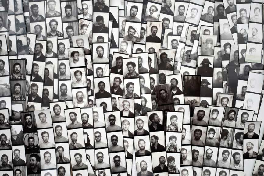 Fotowand aus Polaroidbildern