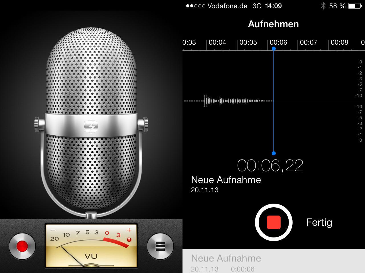 Vergleich der Sprachmemo App