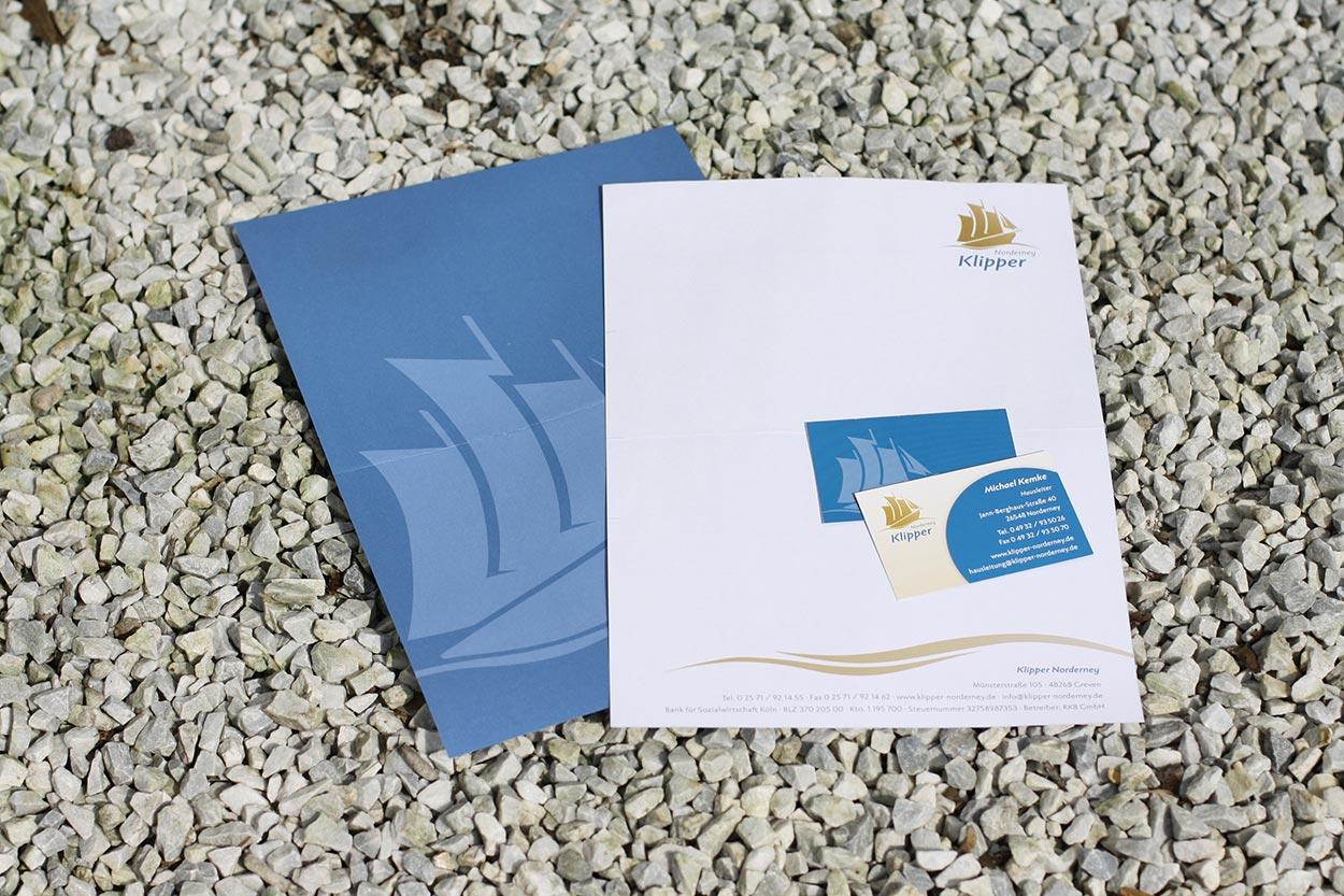 Corporate Design Klipper Norderney – Geschäftspapiere