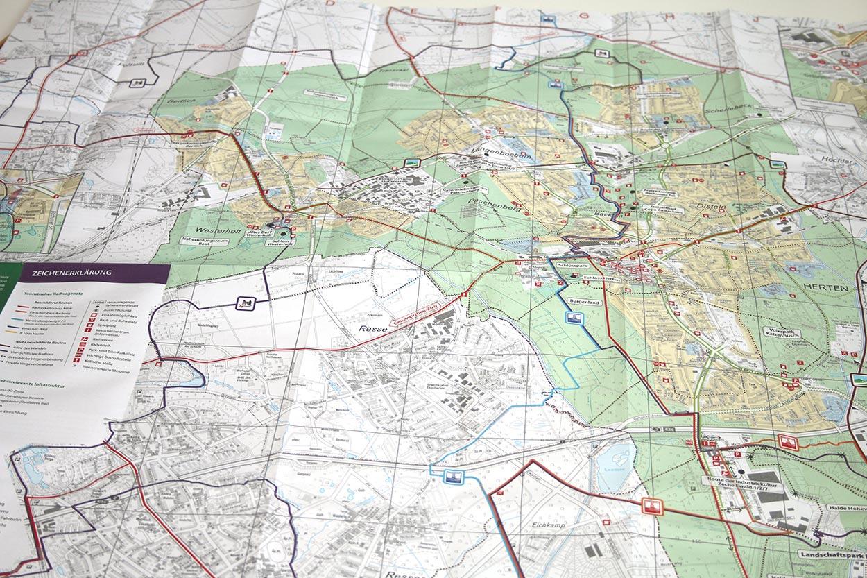 Detailansicht Radstadtplan für Herten