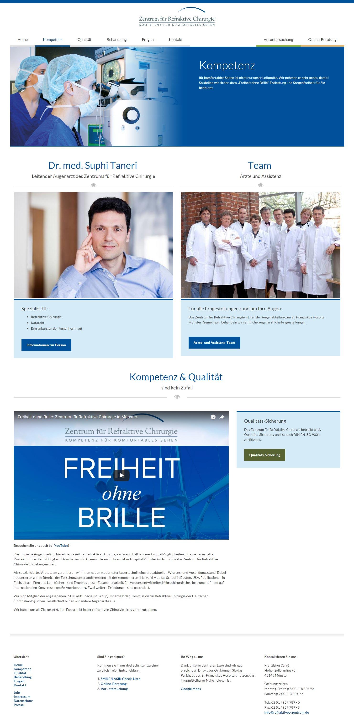 Mock-up des Website-Relaunch des Zentrums für Refraktive Chirurgie – Teamseite